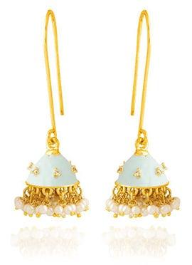 Light Blue Jhumka Style Hook Earring