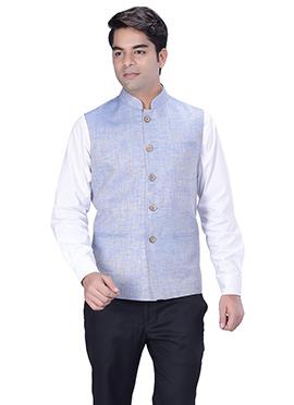 Light Blue Jute Silk Nehru Jacket
