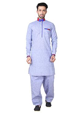 Light Blue Linen Cotton Pathani Set