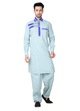 Light Blue Linen Cotton Pathani Set