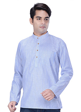 Light Blue Linen Cotton Short Kurta