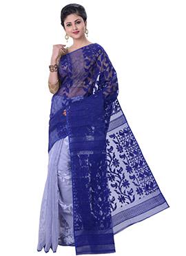 Light Blue N Blue Jamdani Half N Half Saree