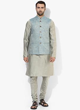 Light Blue N Grey Benarasi Cotton Silk Bandi Set