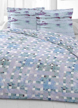 Light Blue N Grey Cotton King Size Bed Sheet