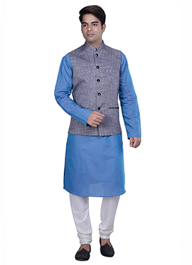 Light Blue N Grey Cotton Linen Bandi Set