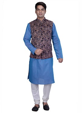Light Blue N Multicolored Cotton Linen Bandi Set