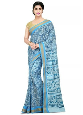 Light Blue Printed Saree