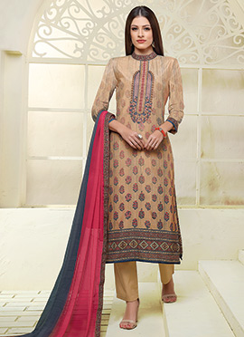 Light Brown Art Silk Cotton Straight Pant Suit