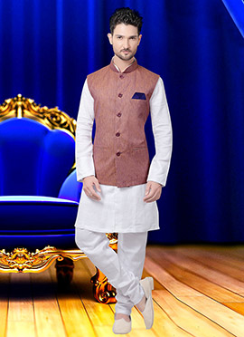 Light Brown Cotton Nehru Jacket