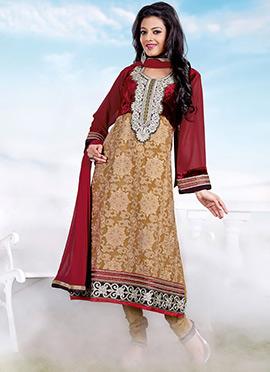 Light Brown Georgette Churidar Suit