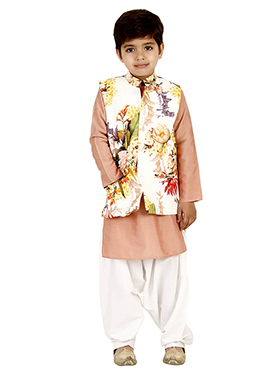 Light Brown N Cream Cotton Silk Kids Bandi Set