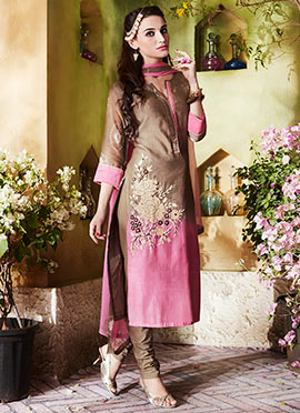 Light Brown N Pink Kora Silk Churidar Suit