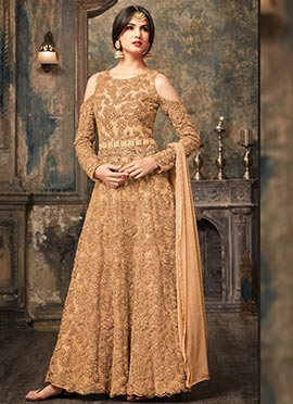Light Brown Net Abaya Style Anarkali Suit