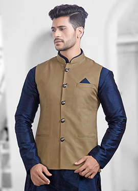 Light Brown Plain Nehru Jacket