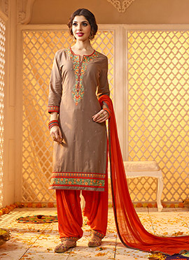 Light Brown Satin Blend salwar suit