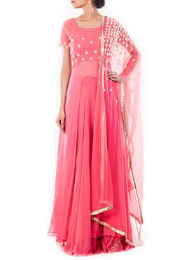 Light Coral Pink Long Choli Umbrella Lehenga
