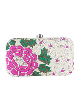 Light Cream Art Silk Embroidered Box Clutch