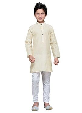 Light Cream Cotton Striped Boys Kurta Pyjama