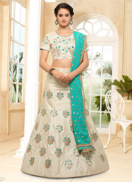 Light Cream Embroidered A Line Lehenga