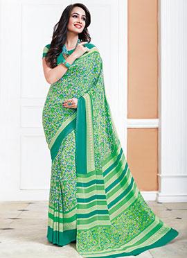 Light Cream N Green Crepe Silk Printed Saree
