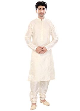 Light Cream Poly Silk Kurta Pyjama