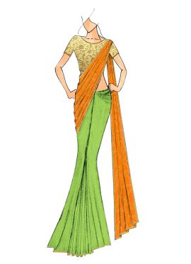 Light Green And Mustard Yellow Half N Half Saree