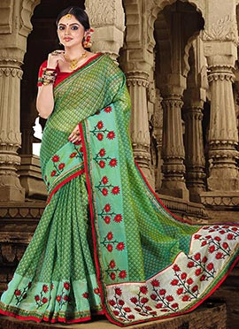 Light Green Art Chanderi Silk Saree