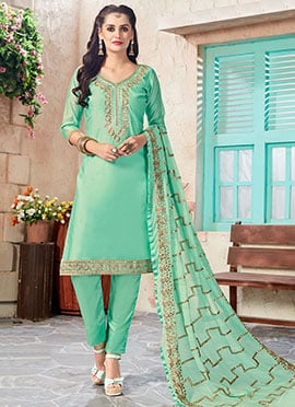 Light Green Art Chanderi Silk Straight Pant Suit