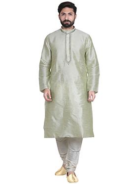 Light Green Art Dupion Silk Kurta Pyjama