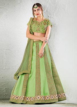 Light Green Art Raw Silk A Line Lehenga