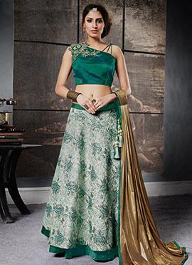 Light Green Art Silk A Line Lehenga