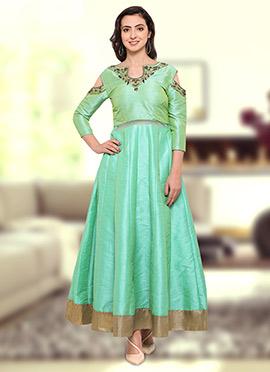 Light Green Art Silk Gown