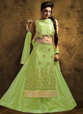 Light Green Art Silk N Net Long Choli Lehenga