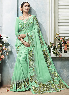 Light Green Bhagalpuri Khadi Silk Printed Saree