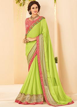 Light Green Border Saree