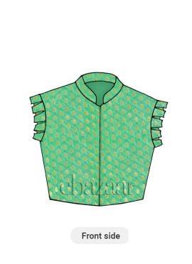 Light Green Brocade Box Pleated Sleeve Styled Blouse