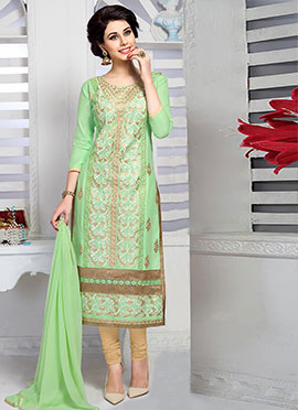 Light Green Cambric Cotton Straight Suit