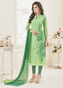 Light Green Chanderi Art Silk Churidar Suit
