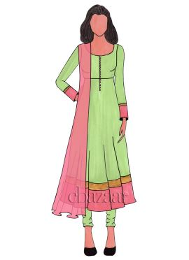 Light Green Chanderi Cotton Anarkali Suit