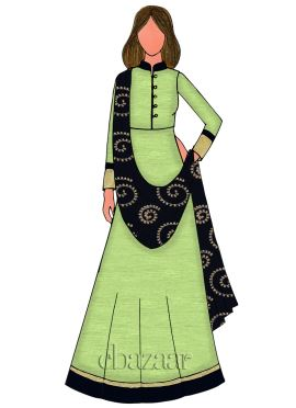 Light green Chanderi Cotton Anarkali Suit