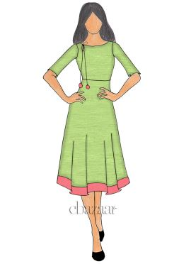 Light green Chanderi Cotton Knee length Kurti