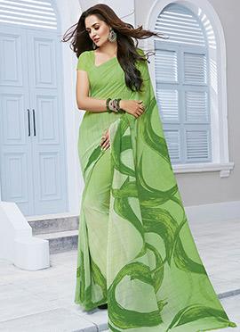 Light Green Chiffon Printed Saree