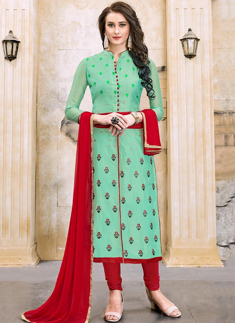 Buy Light Green Cotton Churidar Suit, Embroidered, churidar suit ...