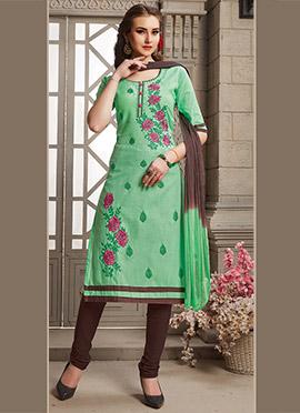 Light Green Cotton Churidar Suit