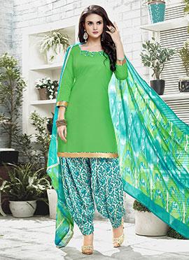 Light Green Cotton Patiala suit