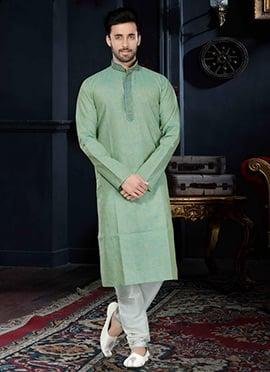 Light Green Cotton Silk Kurta Pyjama