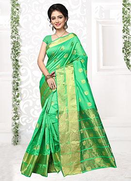 Light Green Cotton Silk Saree