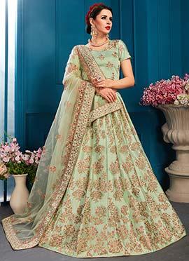 4640de21f99ca2 Ethnic fashion online - Green Satin Blend Women Clothing Lehengas