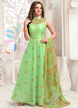 Light Green Embroidered Abaya Style Anarkali Suit