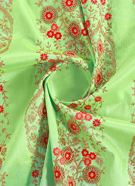 Light Green Embroidered Art Silk Kali